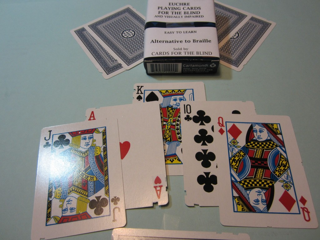 Euchre Playing Cards for the Blind and Visually Impaired