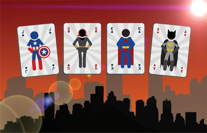 Mighty Super Heroes Playing Cards Courts