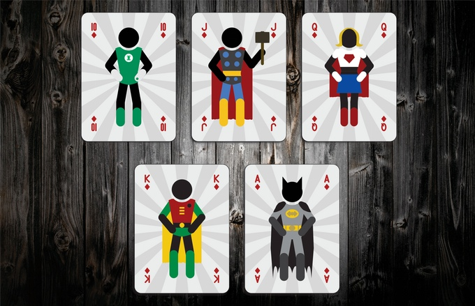 Mighty Super Heroes Playing Cards Diamonds Face Cards
