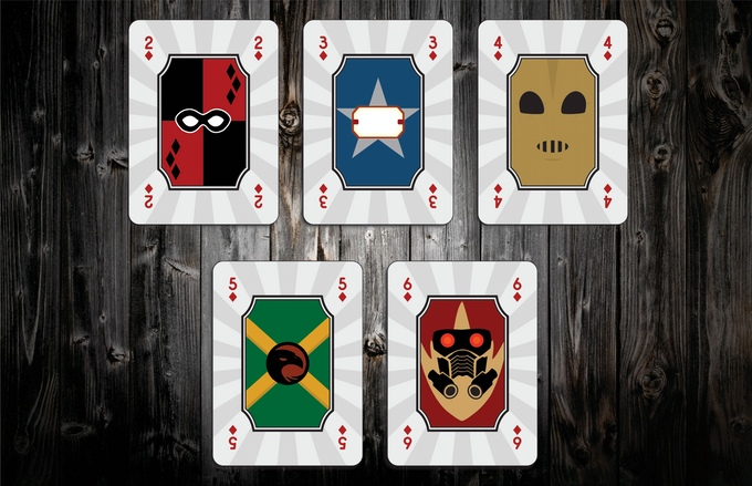 Mighty Super Heroes Playing Cards Diamonds Pips