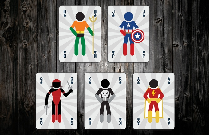Mighty Super Heroes Playing Cards Spades Face Cards