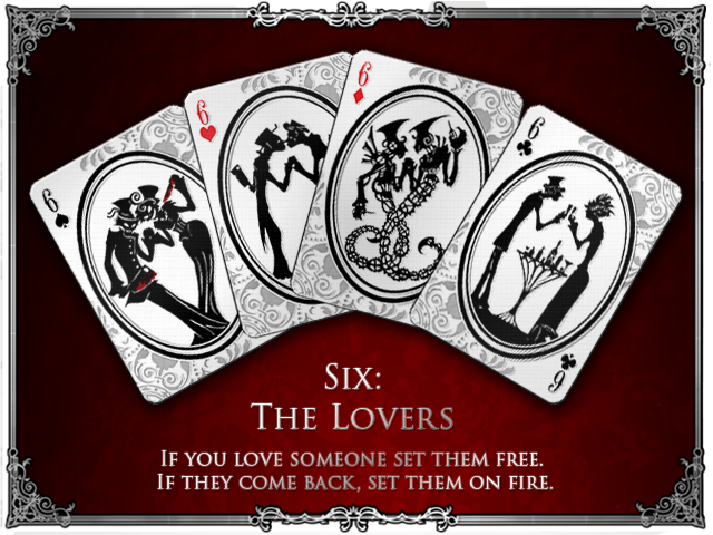 TeaTime Silhouette Playing Cards - The Sixes - The Lovers