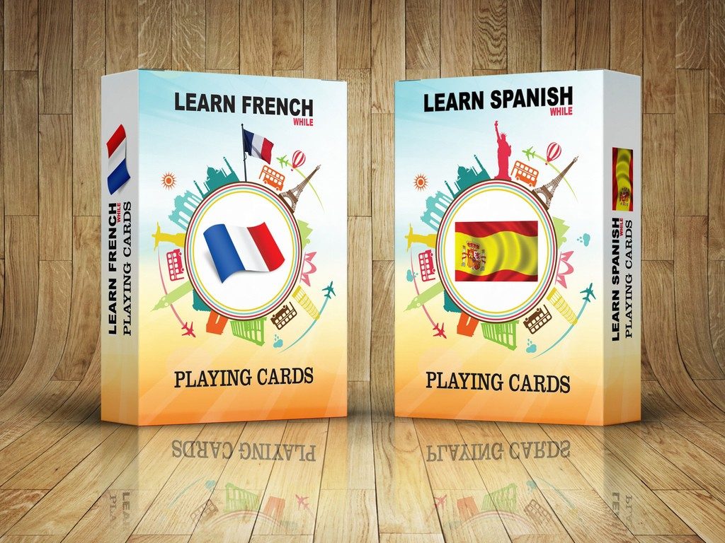 Learn Spanish or French (while) Playing Cards