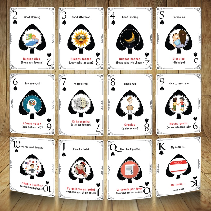 Learn Spanish or French (while) Playing Cards Spread