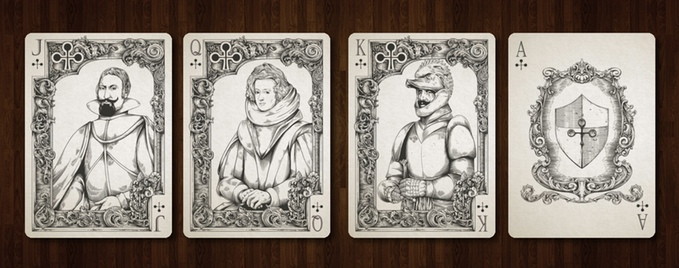 Medieval Playing Cards Clubs Courts