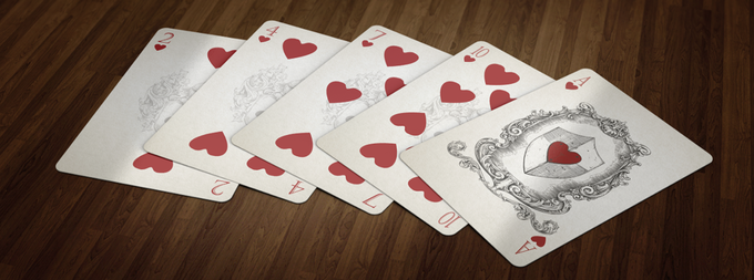 Medieval Playing Cards Hearts Pips