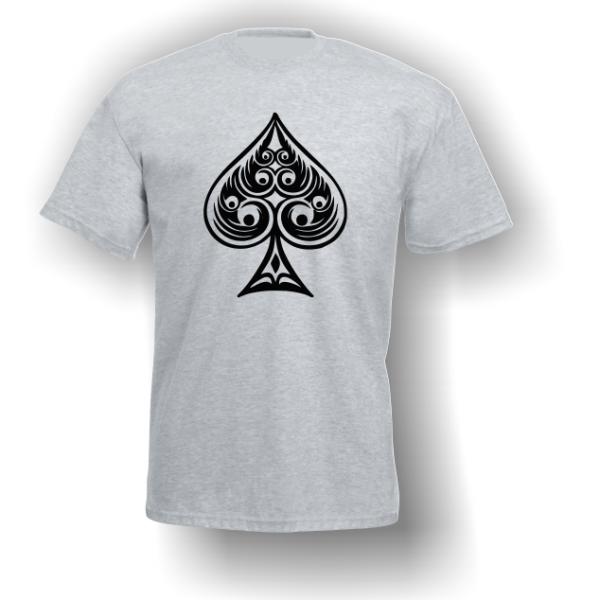 Spade Playing Card Pip T-Shirt Grey